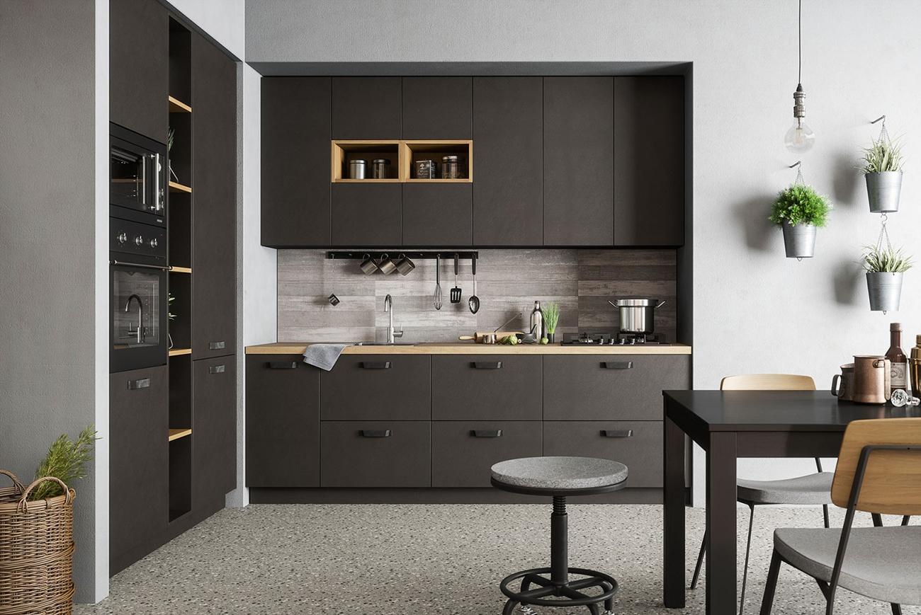 Moderne Wohnküche ALPEN - offene Küche - Anthrazit / Dunkelgrau