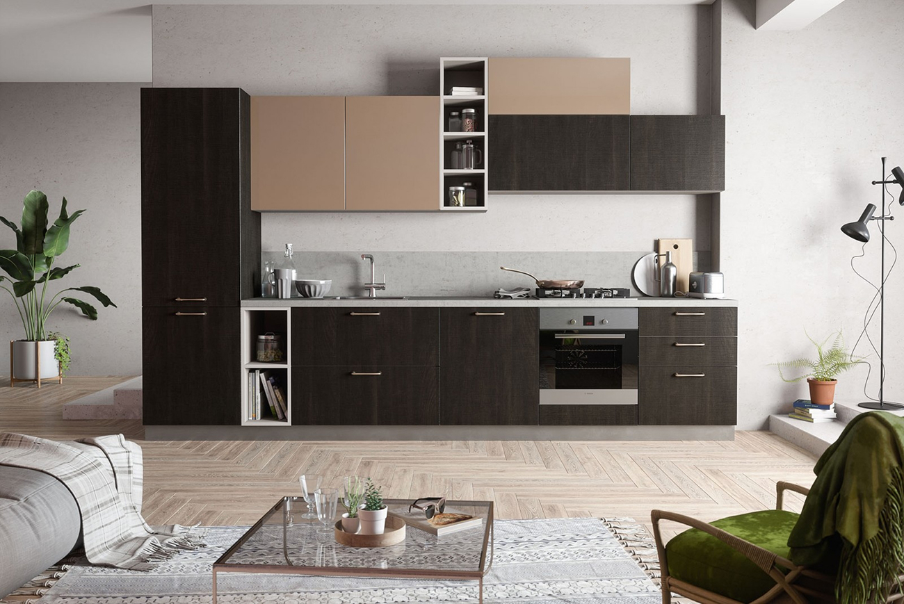 küchenzeile landhausküche grau beige