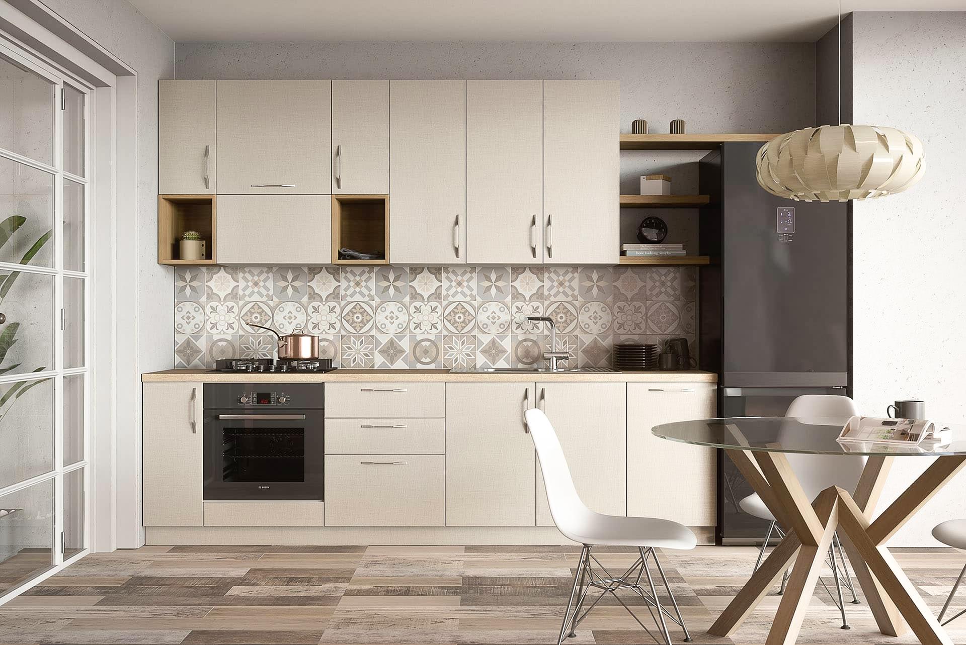 skandinavische landhausküche creme einbauküche modern