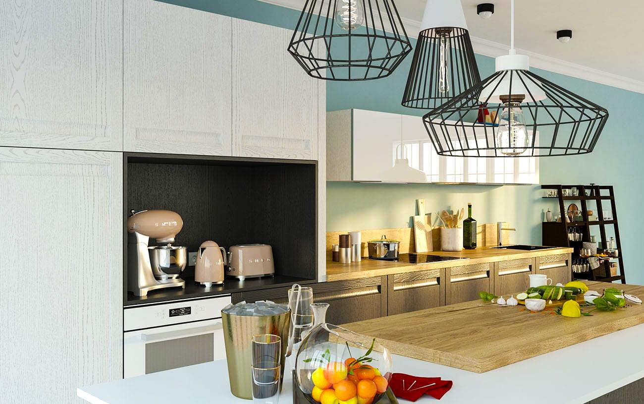 moderne landhausküche wohnküche offene küche schwarz weiß