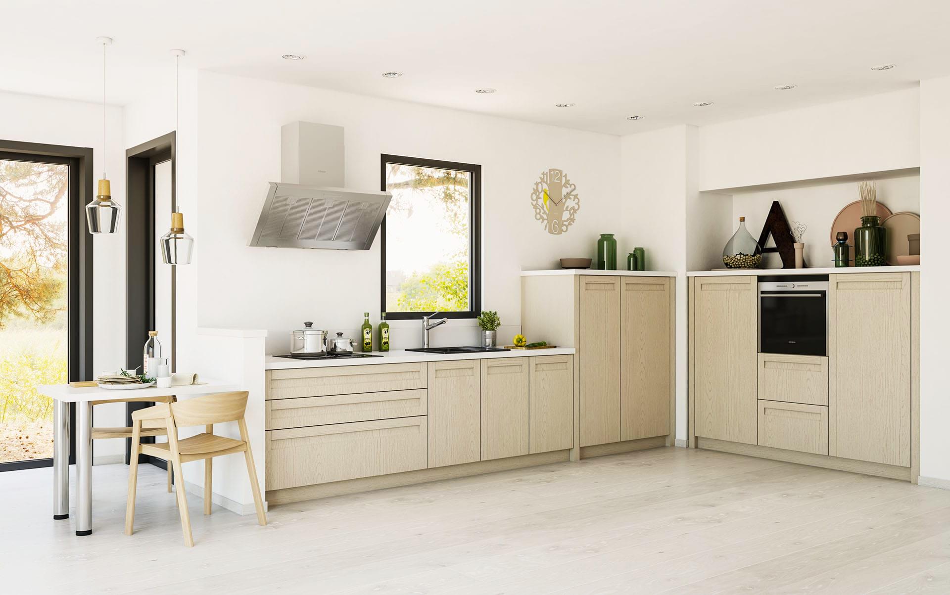 wohnküche helle küche küchenblock mit e geräten