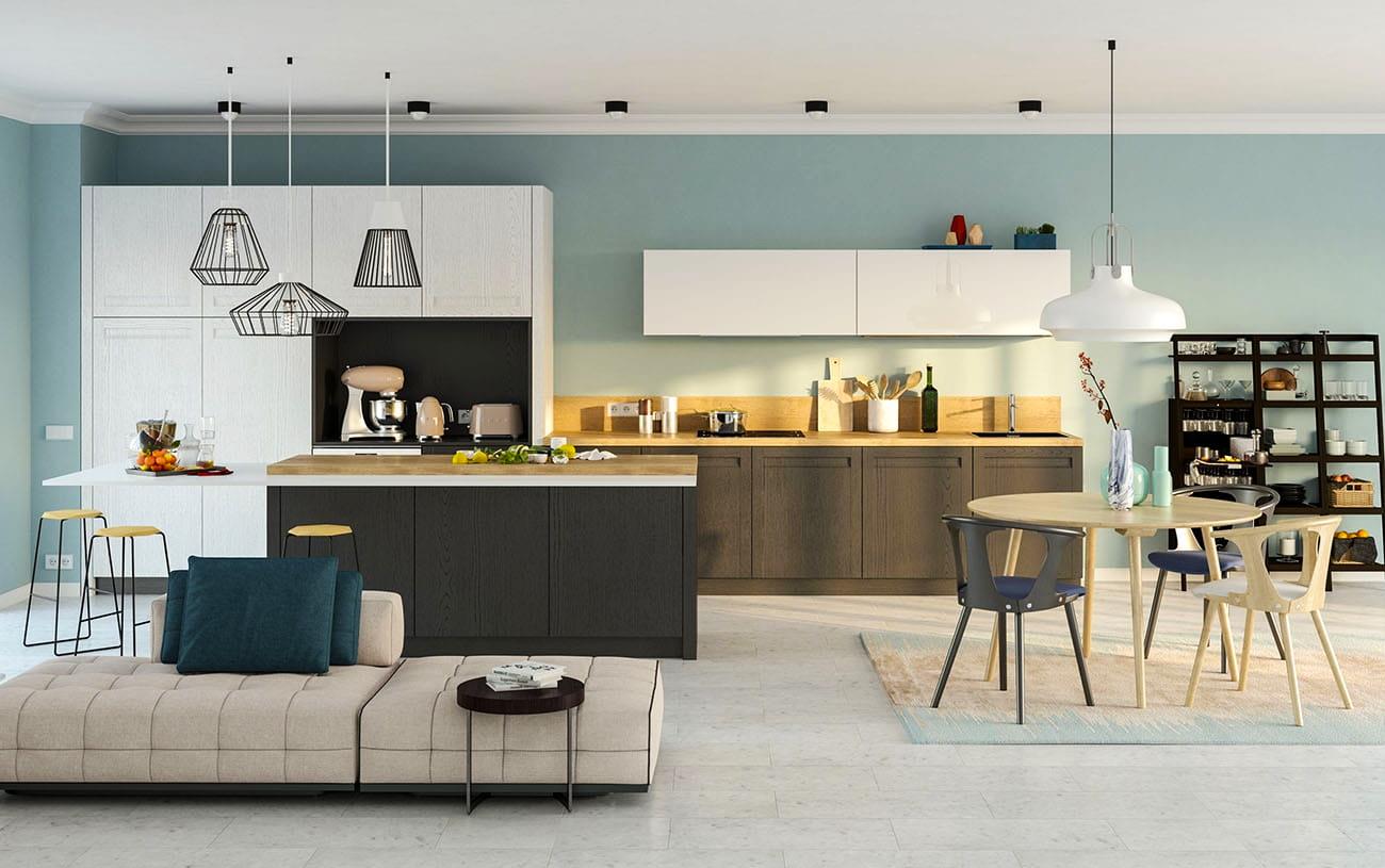 wohnzimmer und küche weisse holzküche küchenzeile weiß