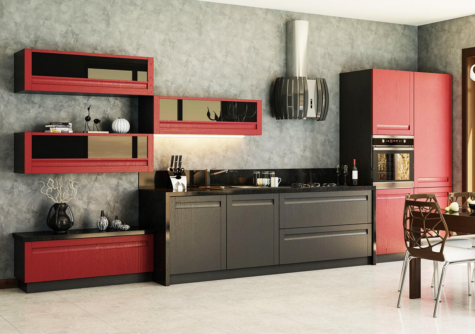 offene küche modern mit theke schwarz matt küche rot
