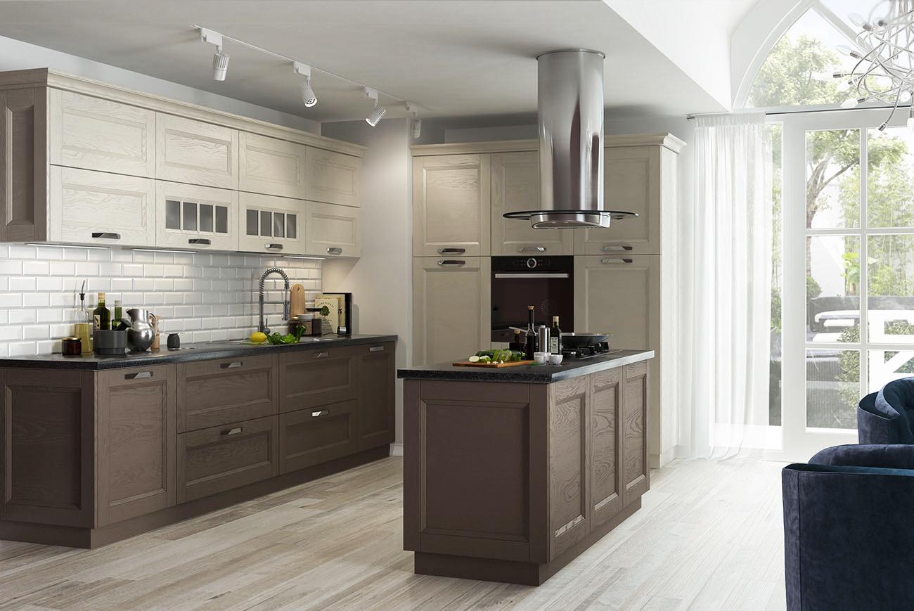 küche landhausstil offene küche mit theke kochinsel