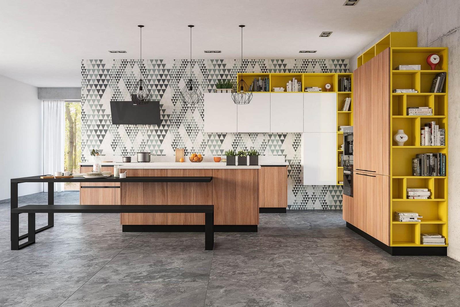 Moderne Küche Ava - Designerküche mit Insel, Esstisch und Bank - Holzoptik/  Weiß/ Gelb