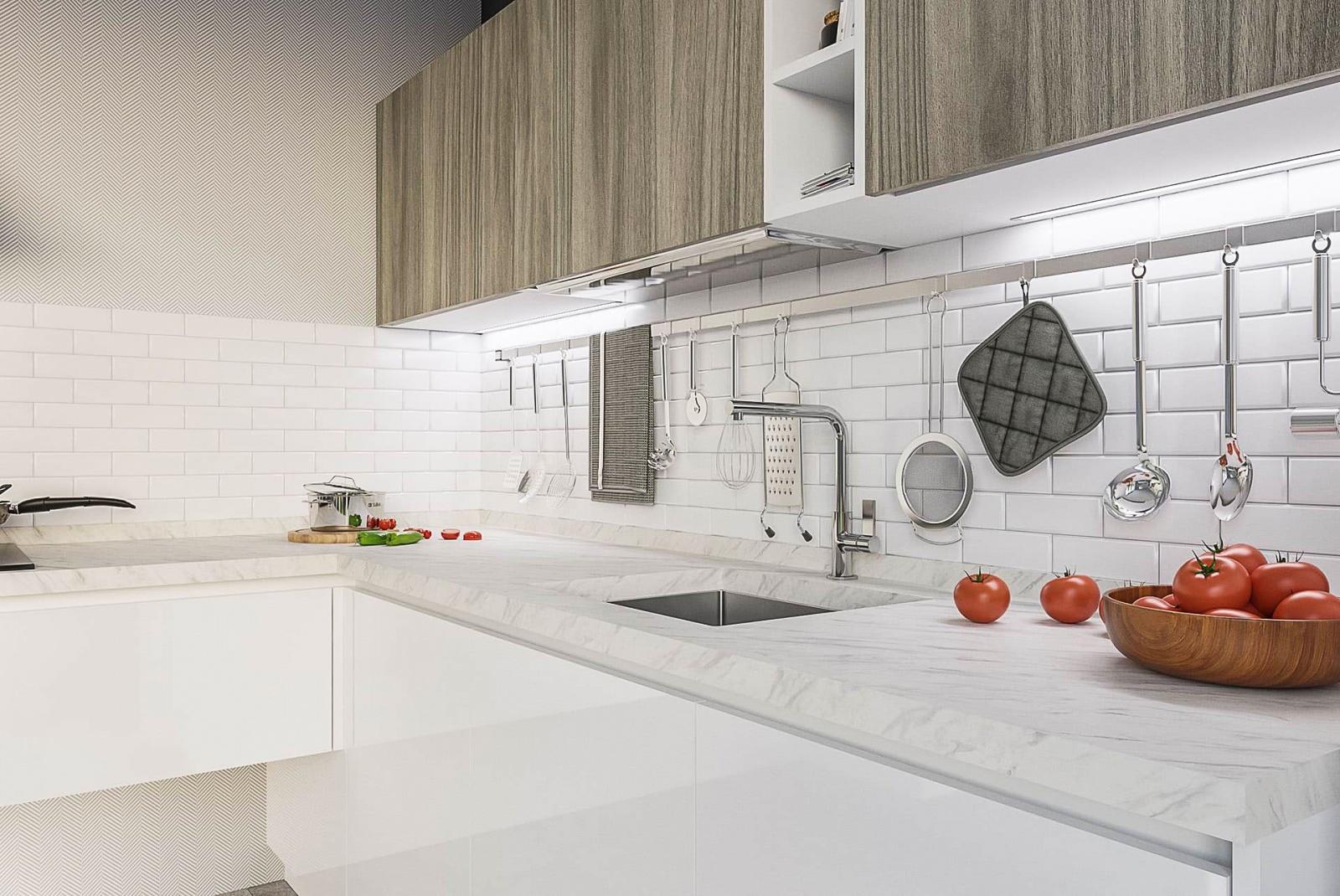winkelküche einbauküche küche weiß braun