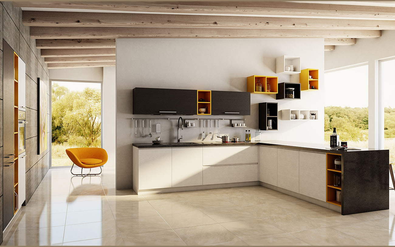 einbauküche moderne küche weiß braun orange