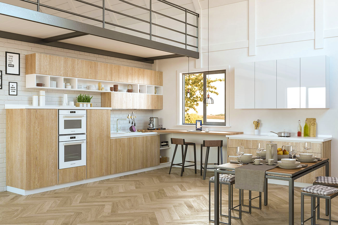 wohnküche offene küche holzoptik küchenzeile holz einbauküche modern