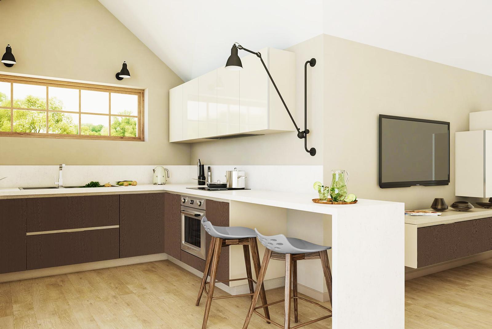 wohnküche küchenzeile eckküche grau weiß