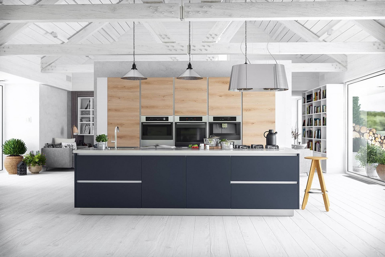 wohnküche modern küche mit kochinsel moderne küchenzeile holzoptik