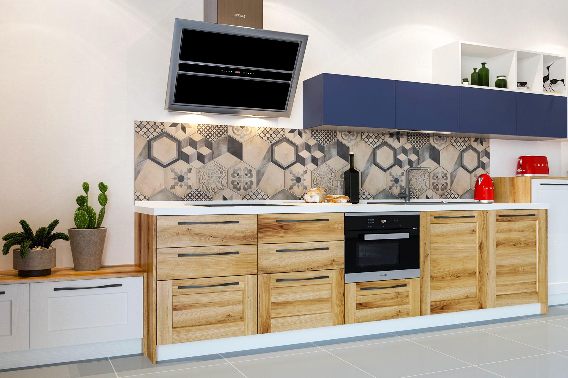 wohnküche küchenwand küche holz massivholzküche