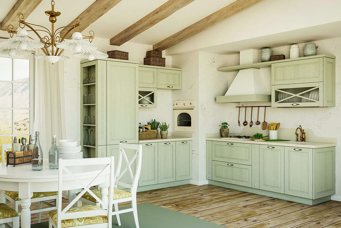 hellgrüne küche landhausstil küche
