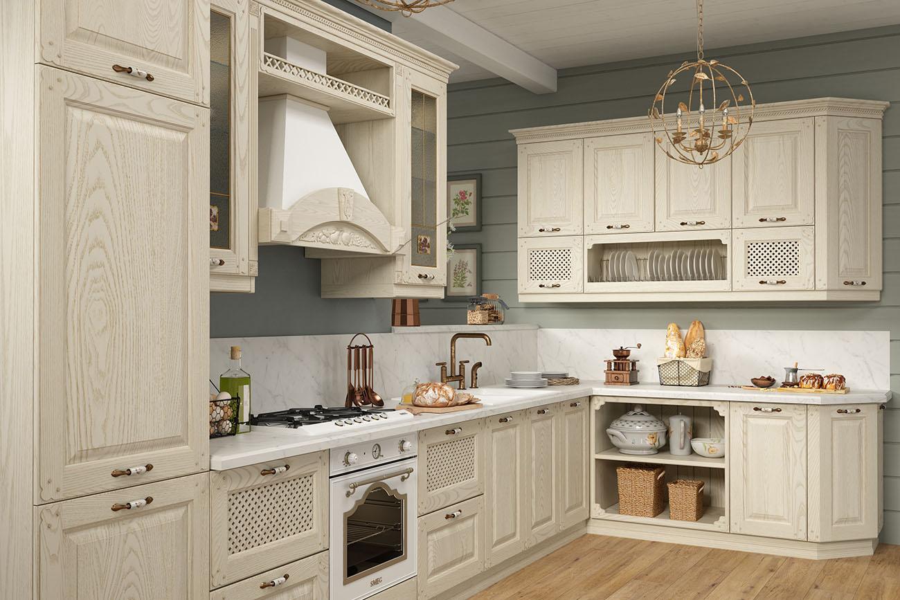 vintage küche beige massivholz landhausküche holzküche
