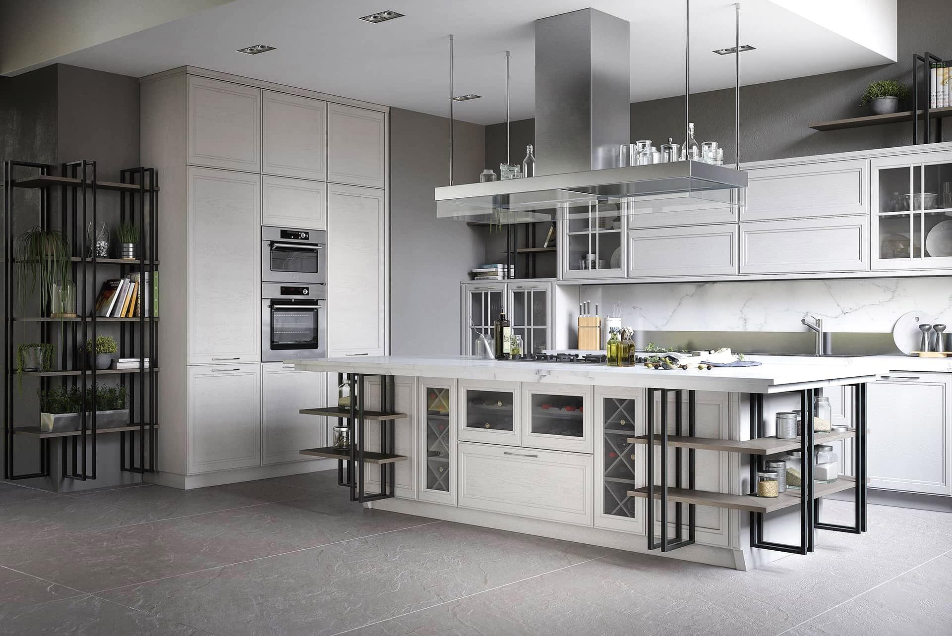 industrial stil küche mit insel moderne küchen