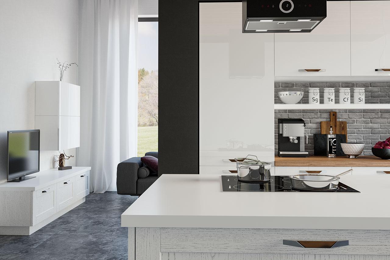 inselküche massivholzküche weiß hochglanz küchen im landhausstil