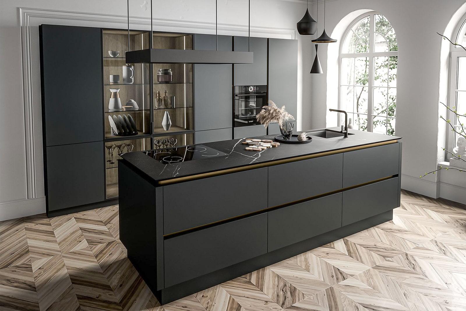 wohnküche modern küche mit kochinsel moderne küchenzeile anthrazit