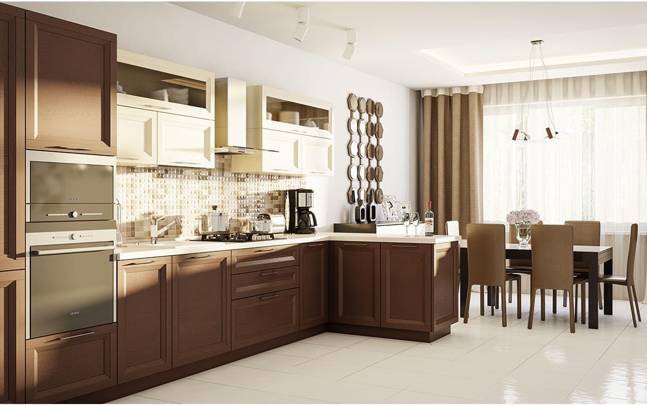 moderne holzküche l form landhausküche braun