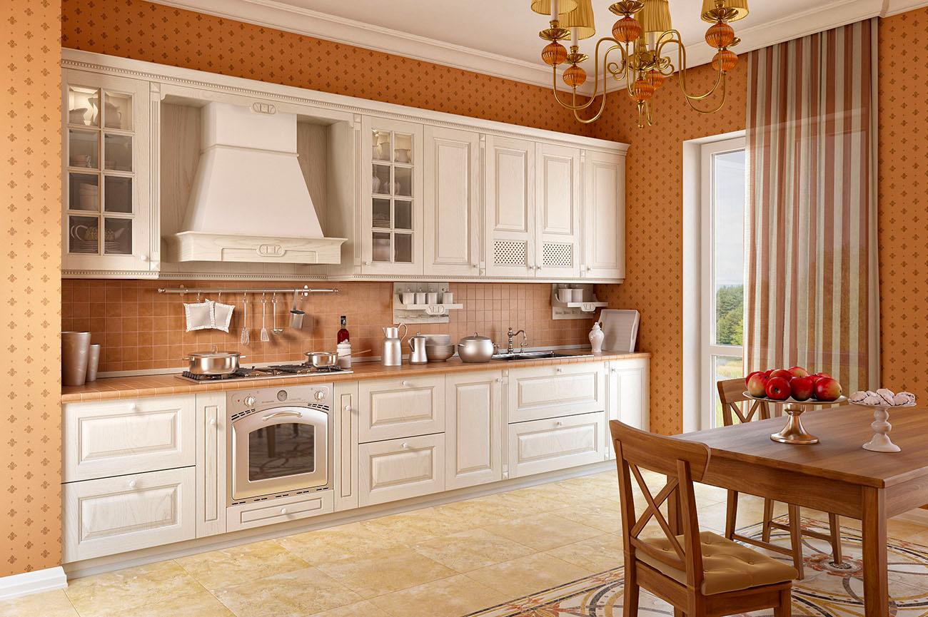 landhausküche französische küche beige küchenzeile