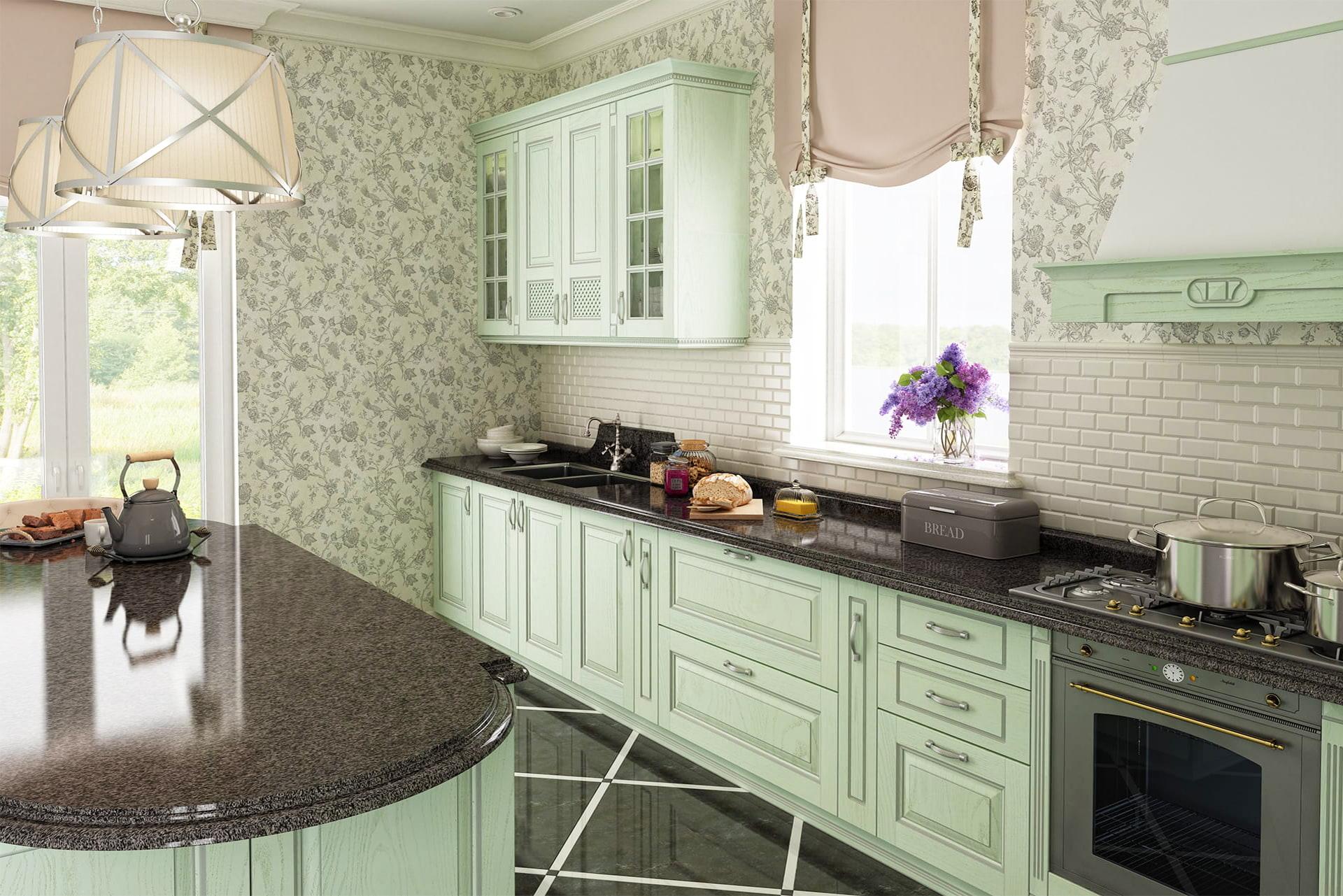 küche hellgrün französische möbel einbauküche planen