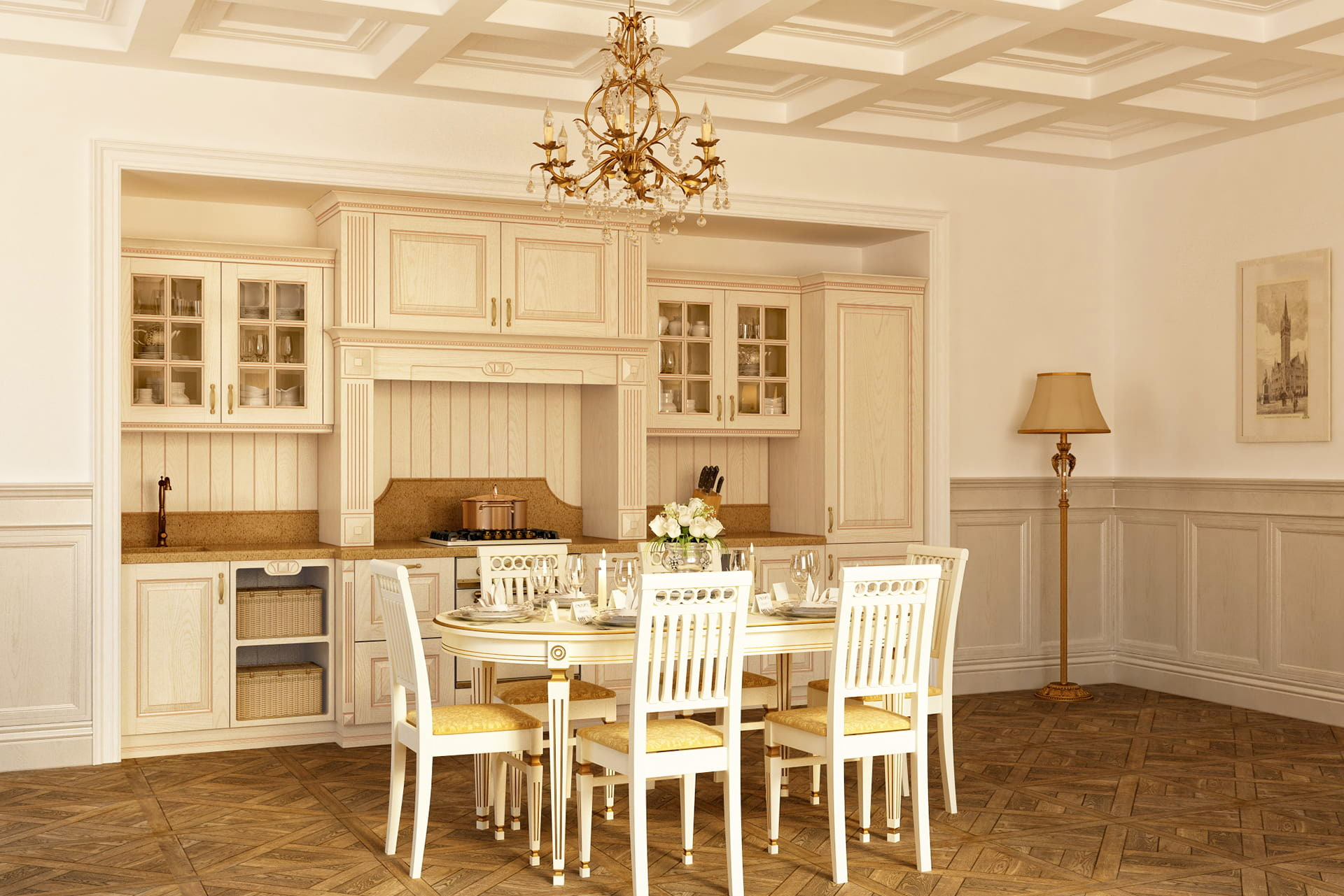 küchenzeile echtholz einbauküche landhausstil mediterran französische möbel