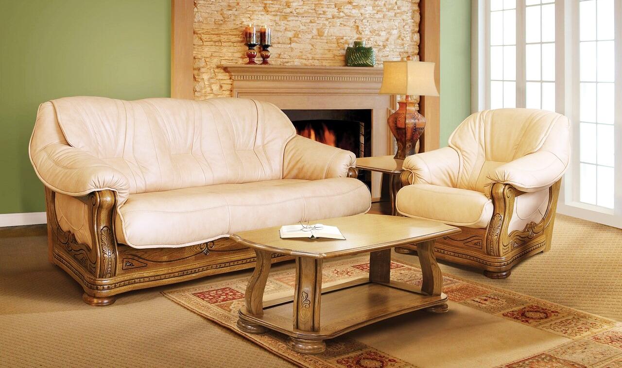 couch mit 2 sessel beige polstermöbel landhausstil couchgarnitur  wohnzimmer ledercouch beige ledersessel