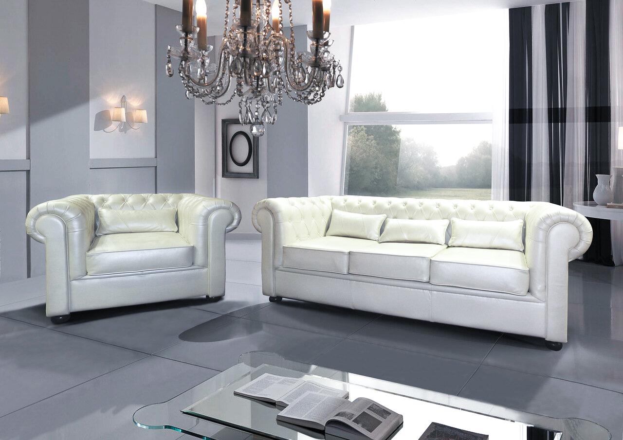 chesterfield möbel echtleder sofa couchgarnitur leder weiß
