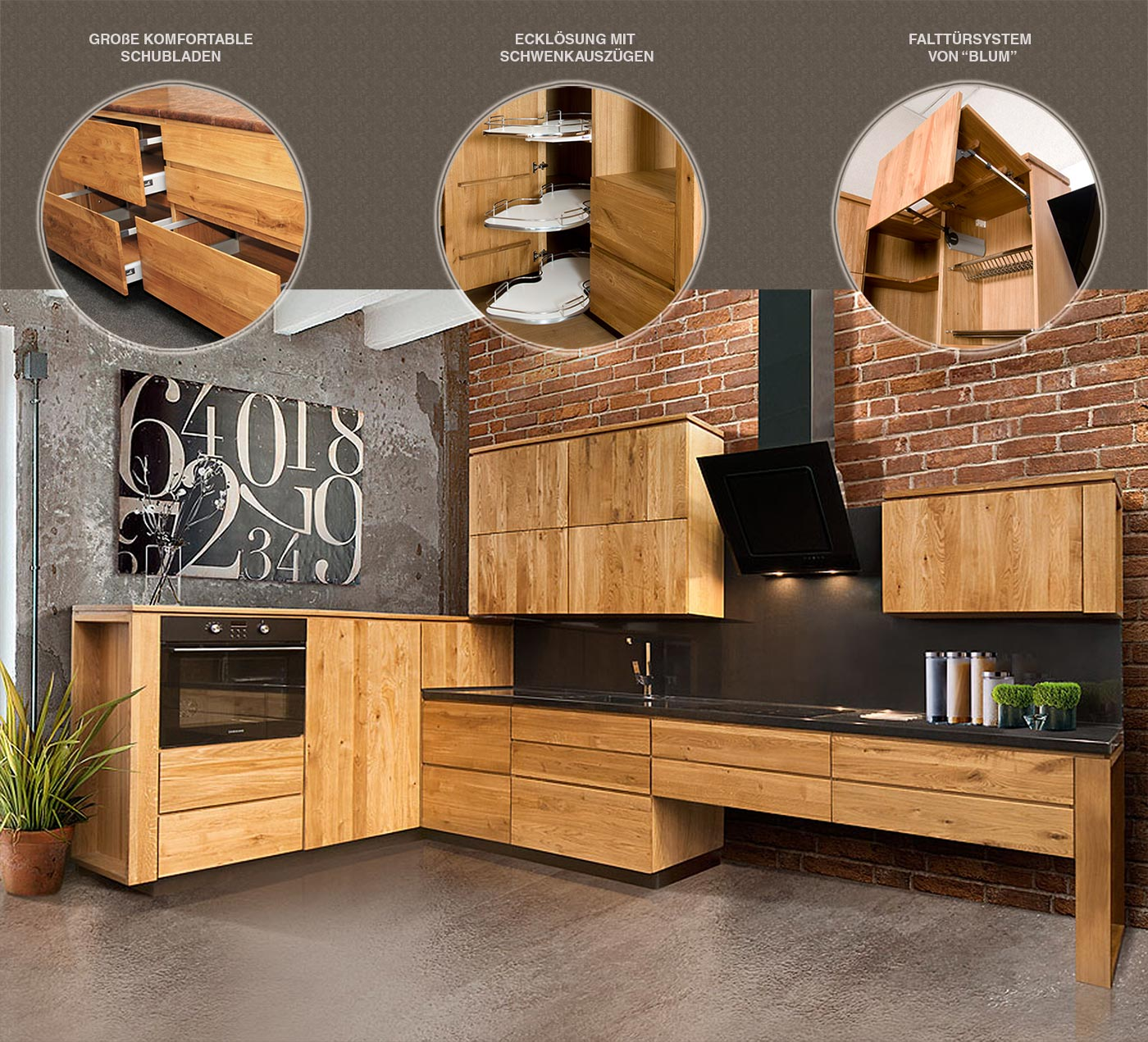 küche echtholz landhaus winkelküche l form