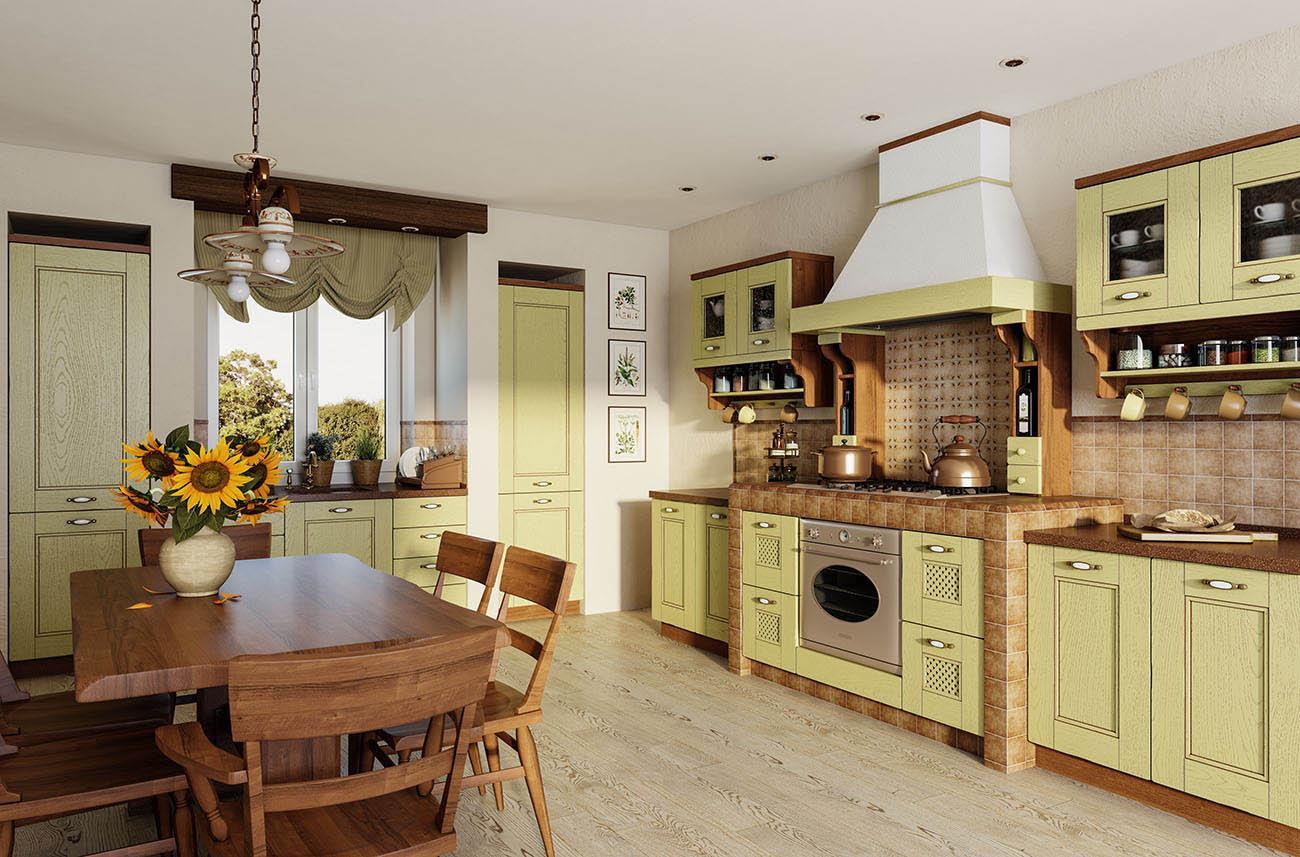 rustikale küche grün landhausküche
