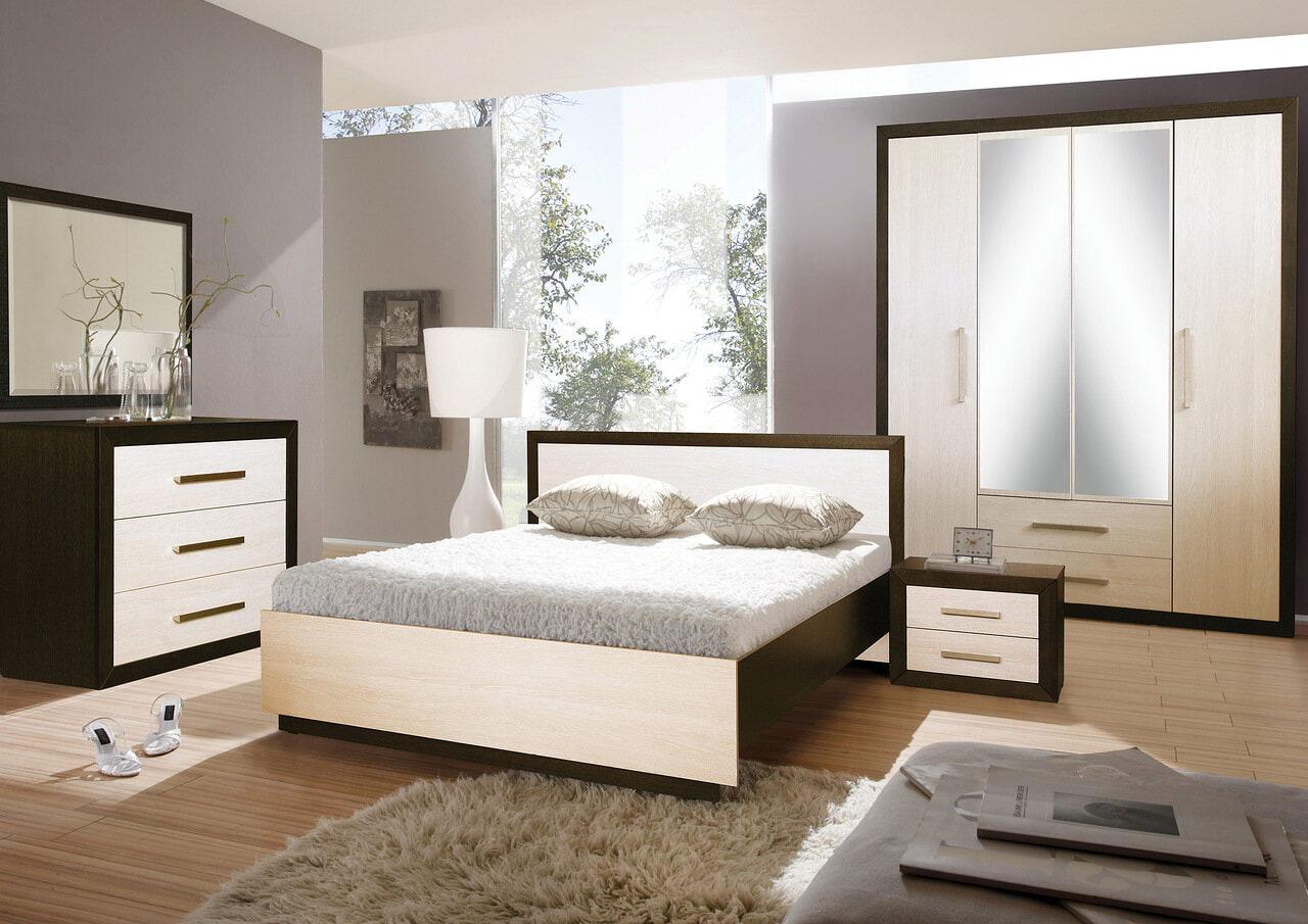 Schlafzimmer Komplett-Set DUETT - moderne Schlafzimmermöbel, Cremeweiß /  Wenge