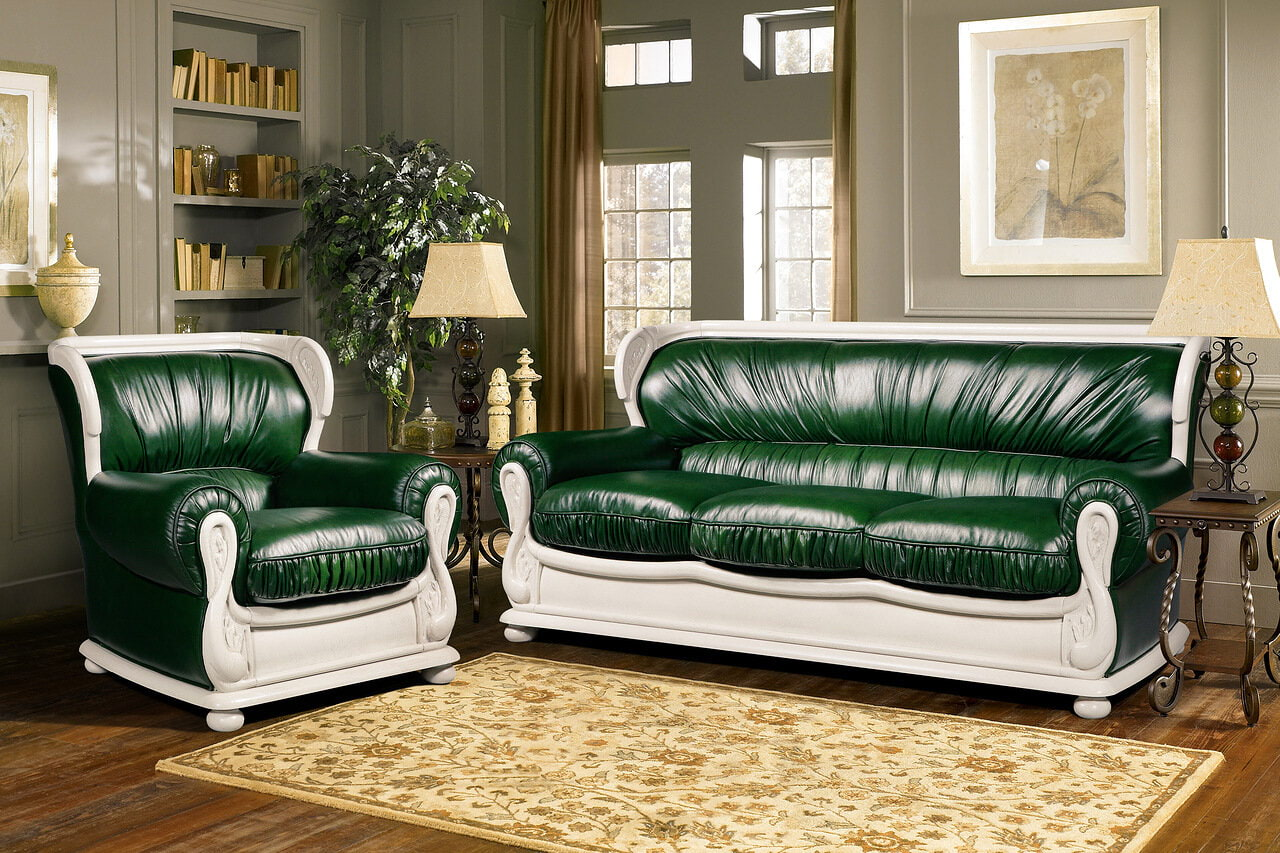 sofagernitur sofa sessel couchgarnitur leder weiß grün