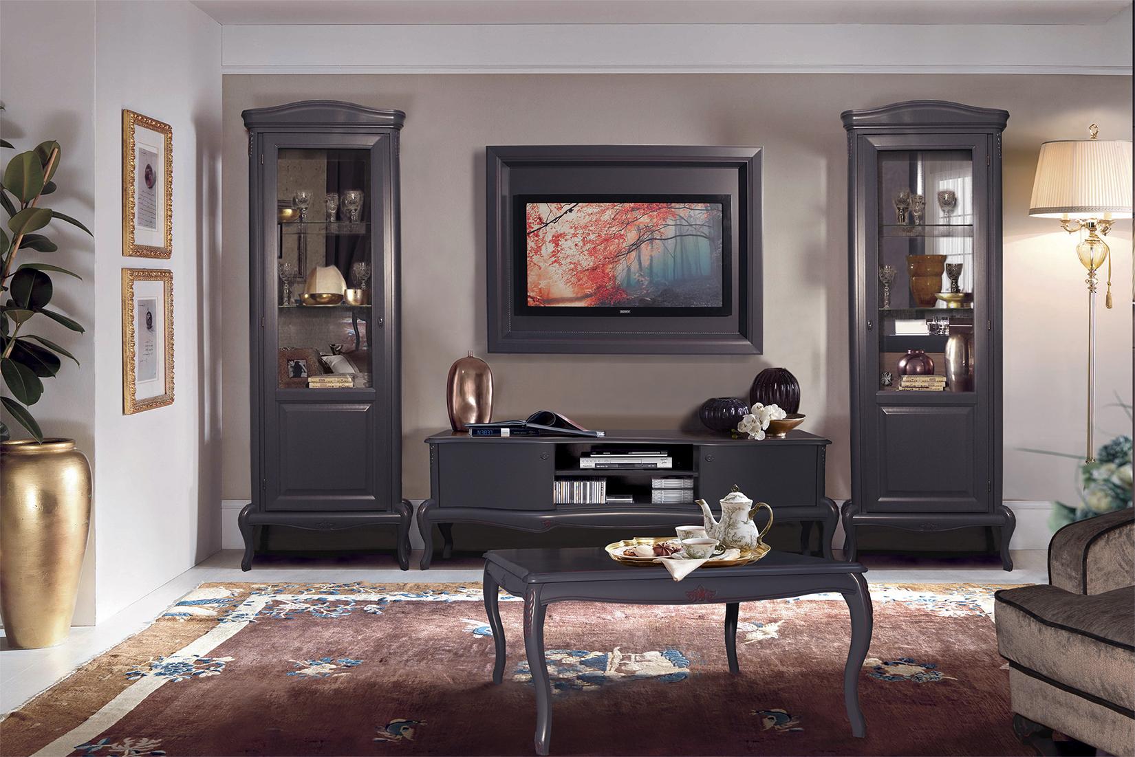 MOKKO Exklusive Design-Wohnzimmermöbel im modernen Barock-Stil, Grau mit  bordeaux Touch