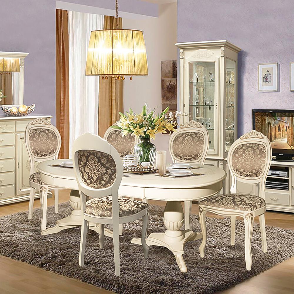 vintage esszimmer komplett tisch mit stühlen wohnwand weiß landhausstil