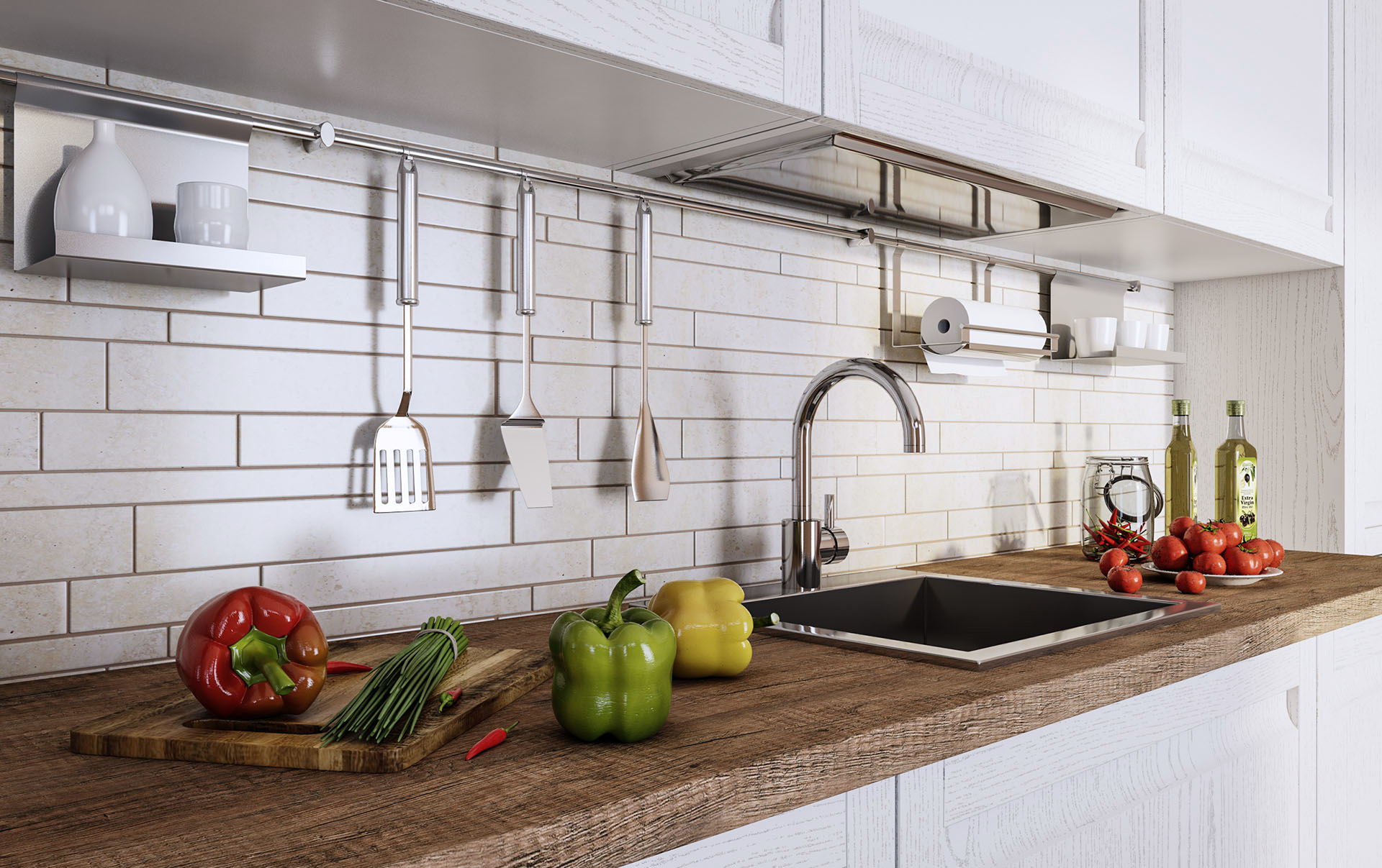 moderne küchenzeile hochglanz küche