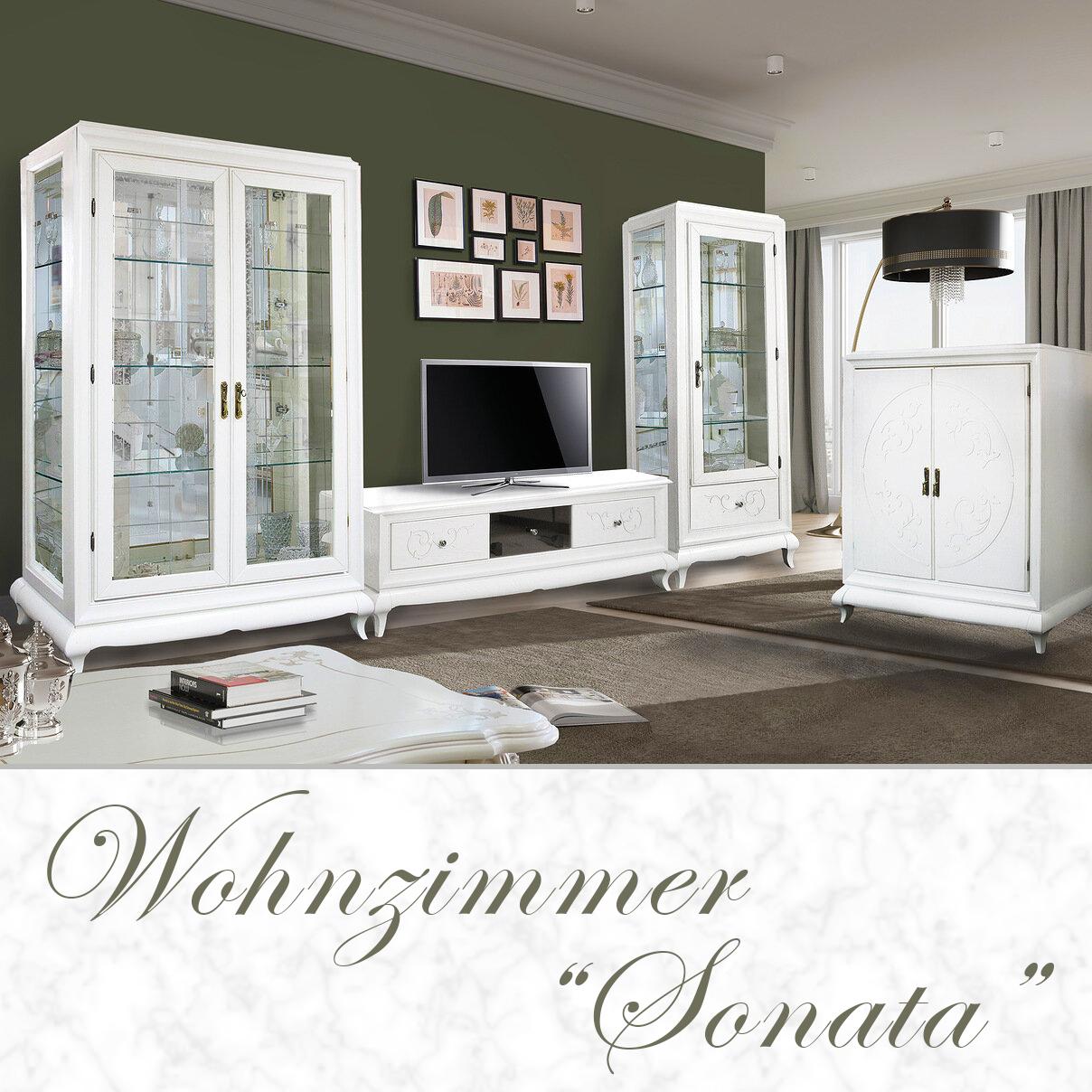 """Wohnzimmer Möbelset """"SONATA"""" - Massivholz - Weiß-0"""