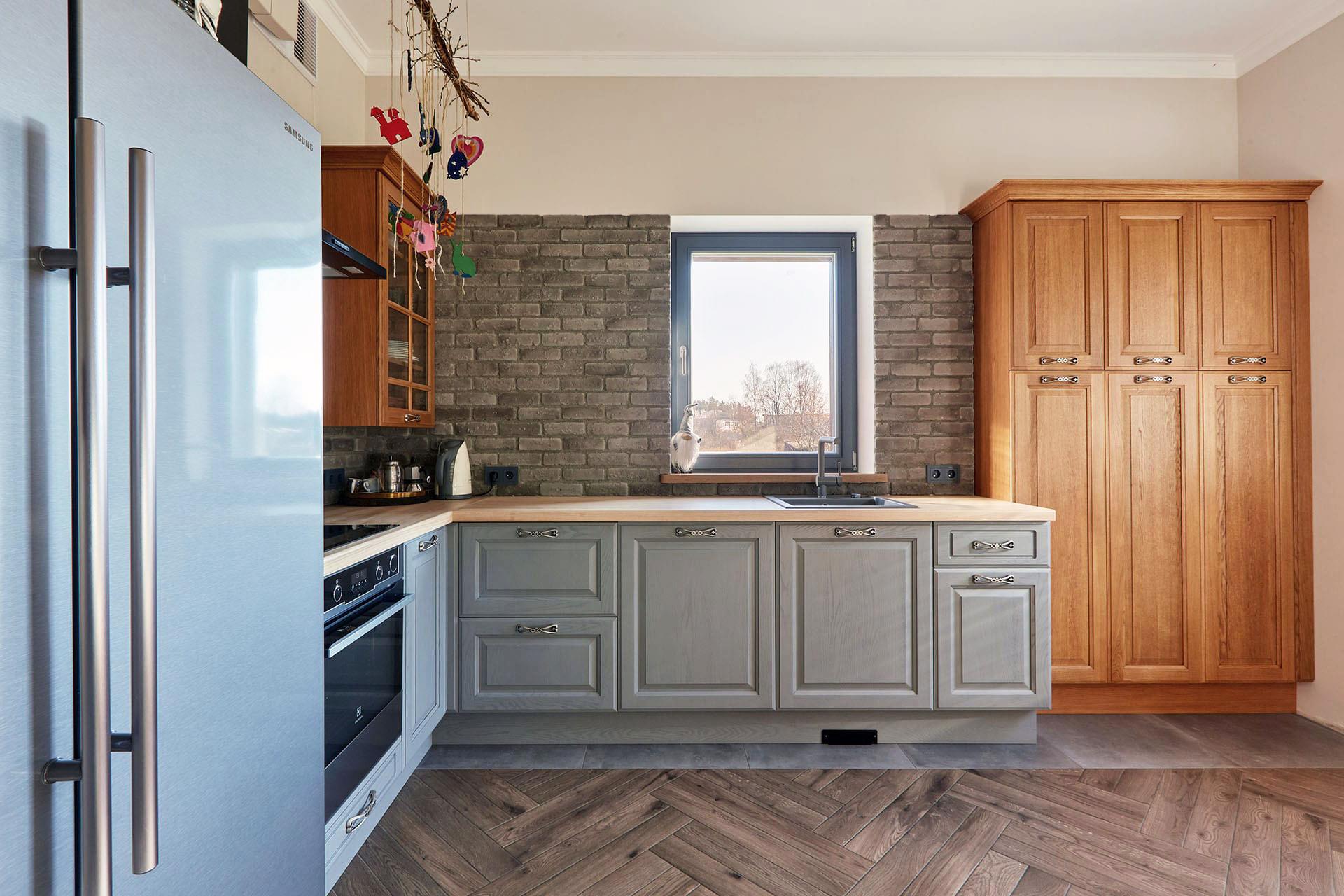 küche holz blau