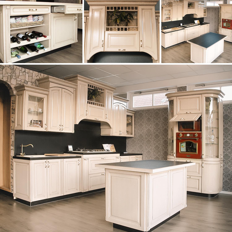 massivholz küchenzeile mit kochinsel küche landhausstil beige küche mit elektrogeräten