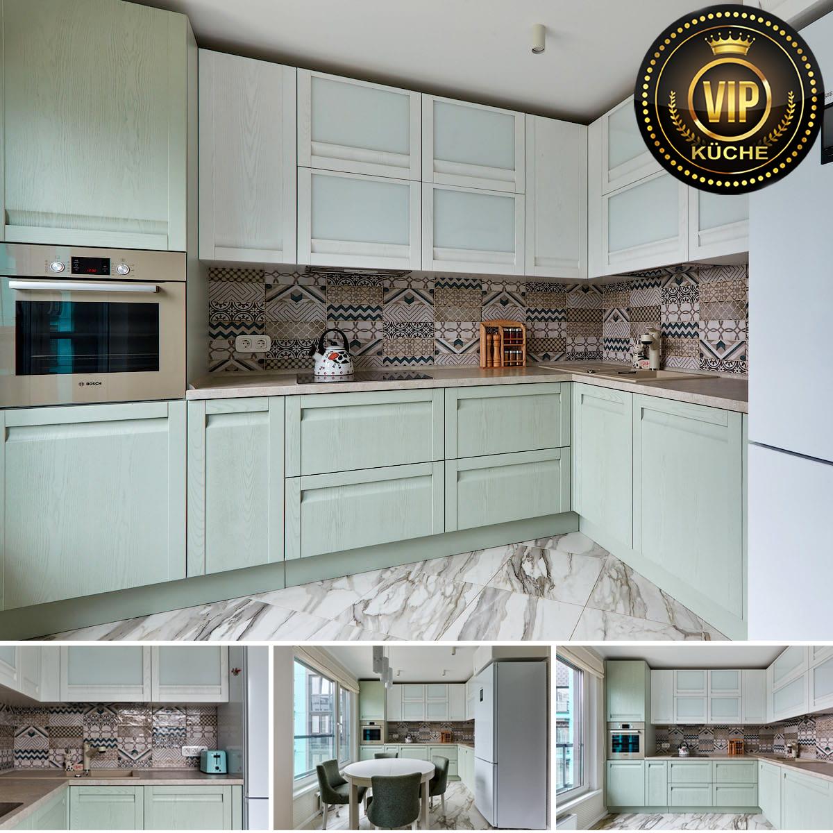 winkelküche küche mintgrün echtholzküche moderne einbauküche
