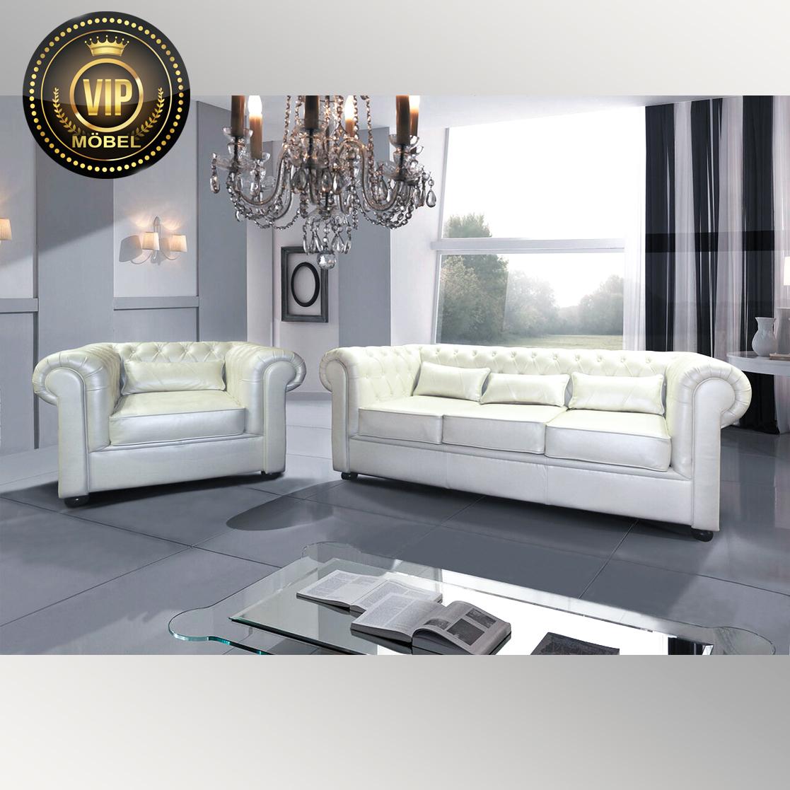 polstergarnitur chesterfield couchgarnitur leder beige englische möbel