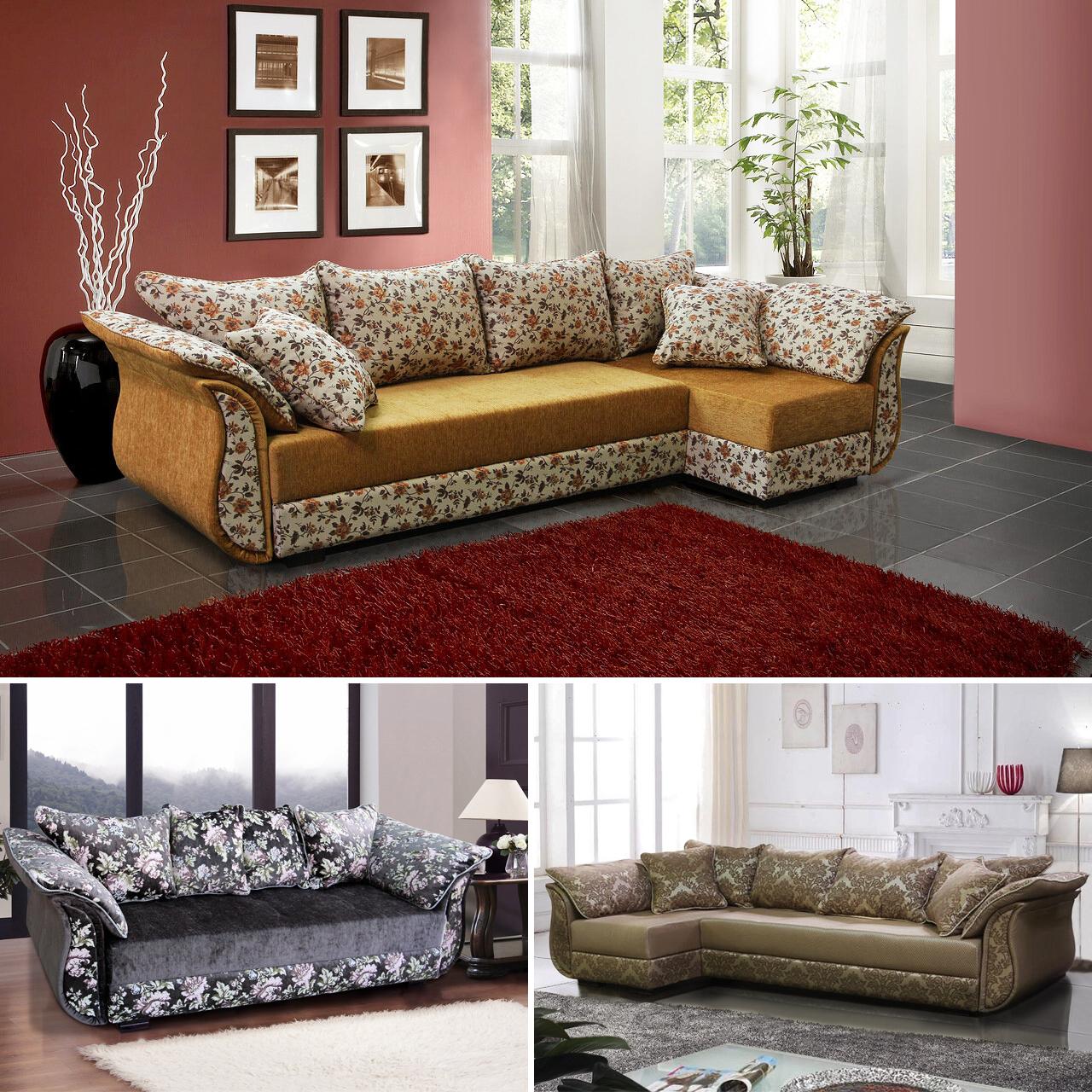 ecksofa landhausstil sofa blumenmuster couch landhausstil modern schlafsofa design