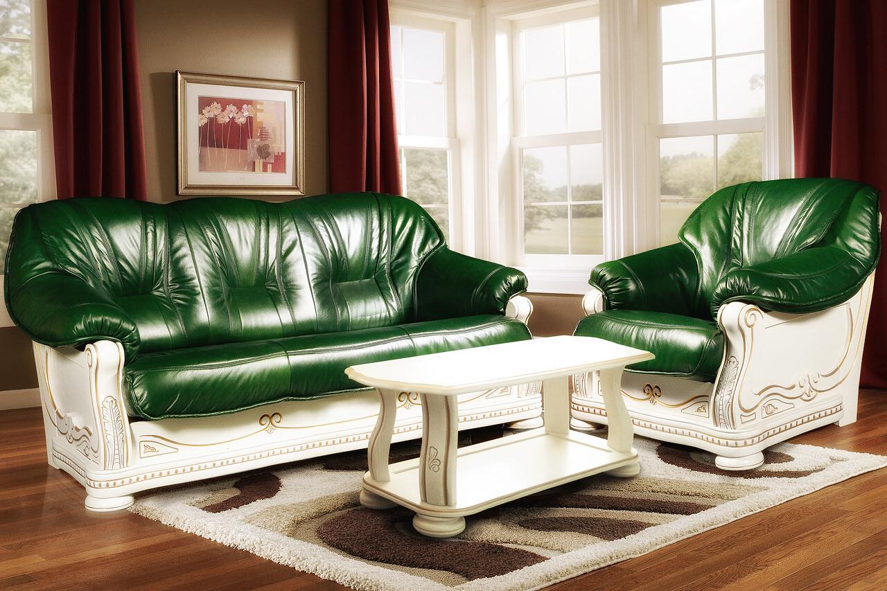 italienische möbel polstermöbel landhausstil couchgarnitur grün wohnzimmer ledercouch ledersessel