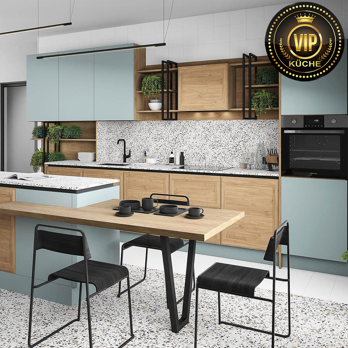 moderne küche mit kochinsel einbauküchen grifflose küche mit insel Massivholz loft küchenmöbel landhaus