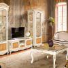 wohnwände massivholz antike wohnzimmermöbel echtholz möbel weiß gold