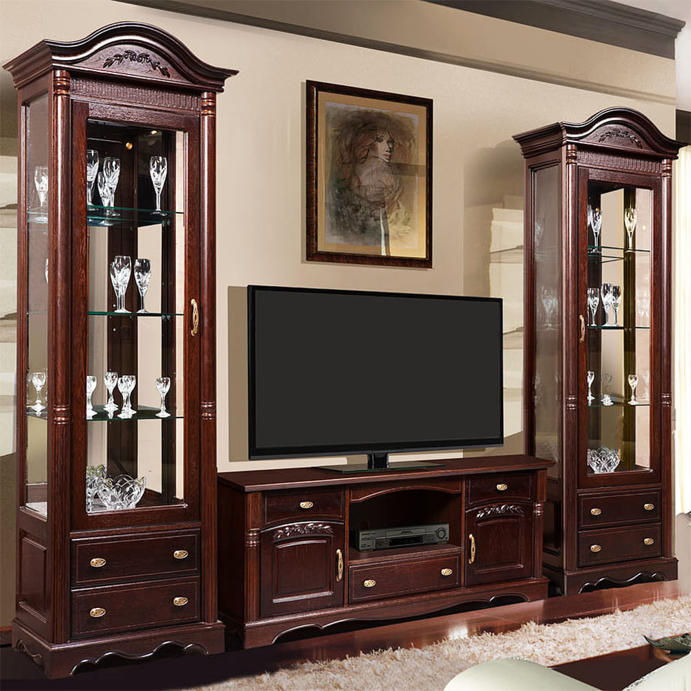 komplett wohnzimmermöbel eiche massiv retro vintage möbel wohnwand mahagoni
