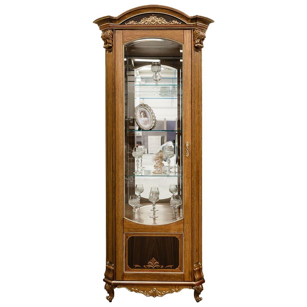 1-türiger Vitrinenschrank mit Glasvitrine Antik Naturholz Eiche Braun Barock