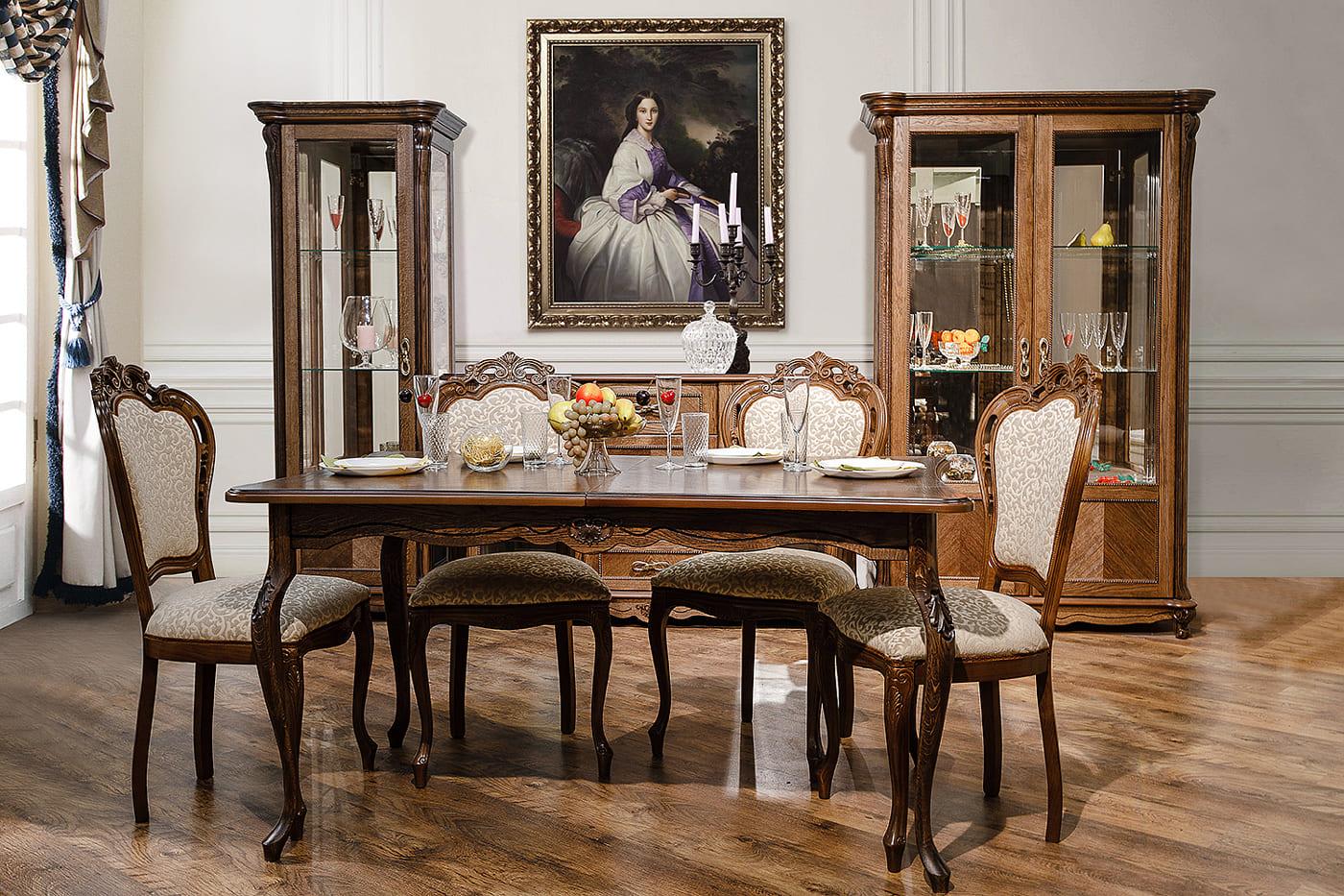 barock esszimmer massivholz esstischgruppe mit stühlen rokoko