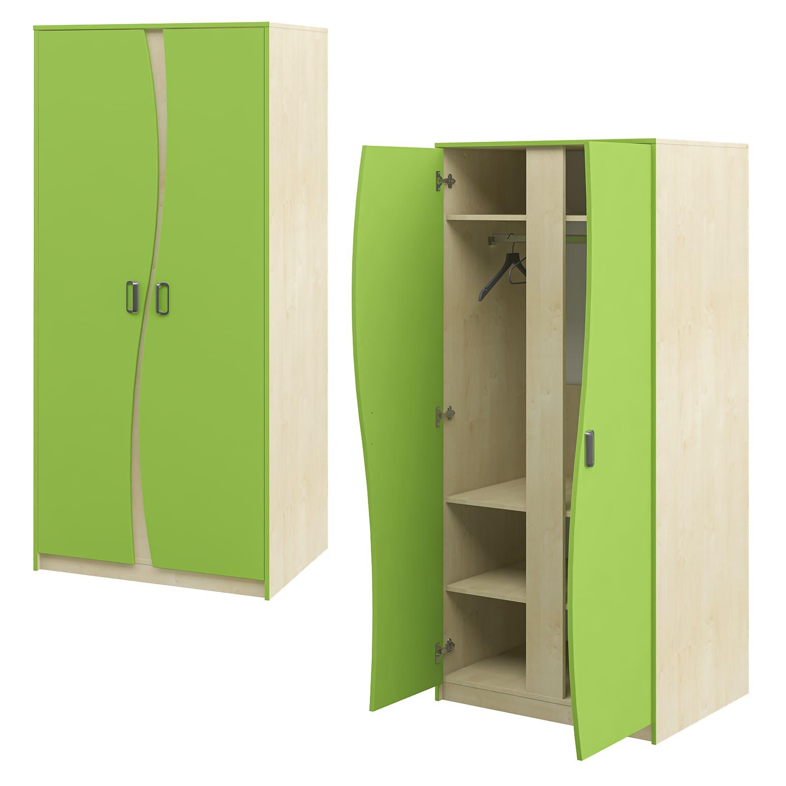2-türiger Kleiderschrank Kinderzimmerschrank Grün kinderzimmermöbel