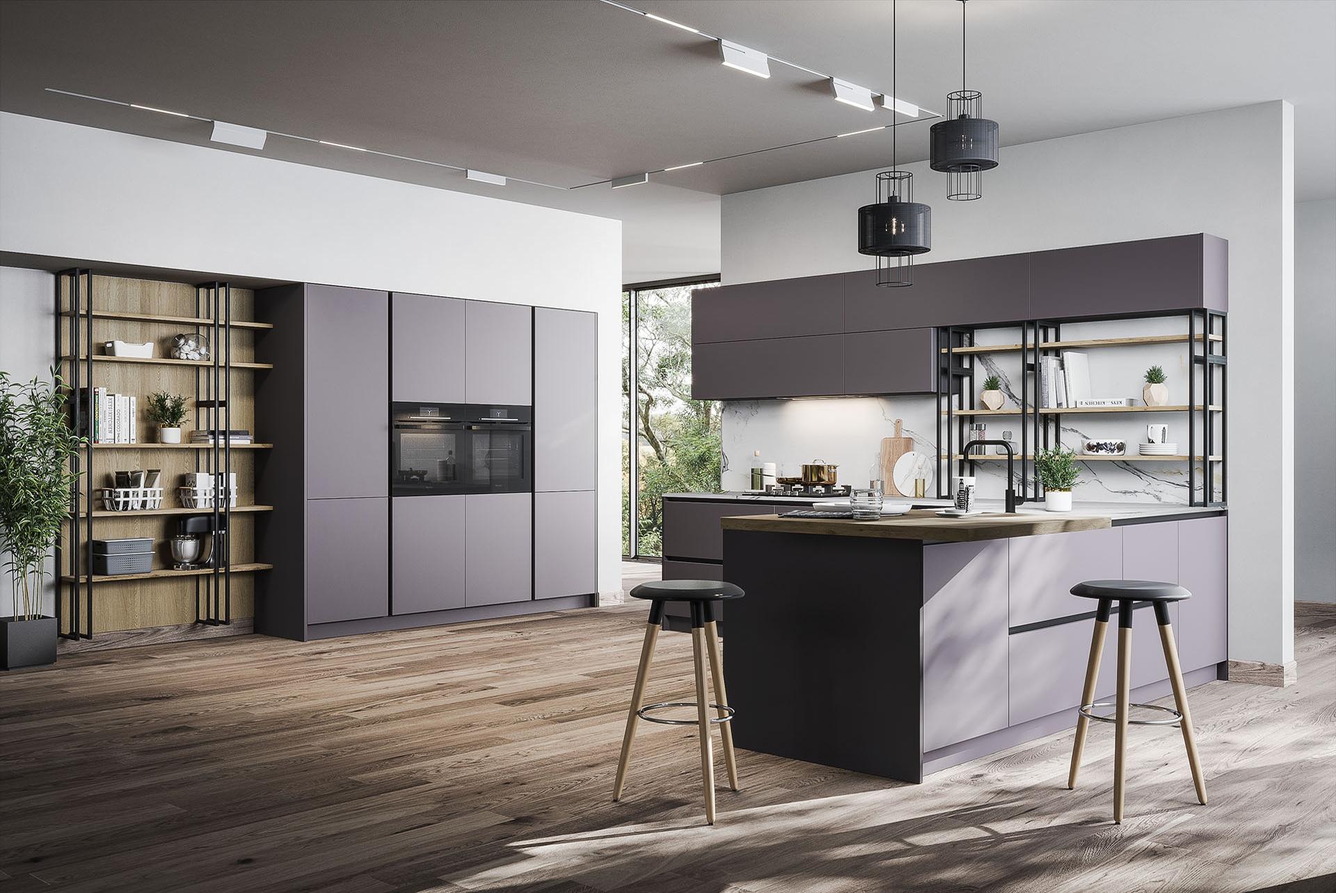 moderne küche l form grau