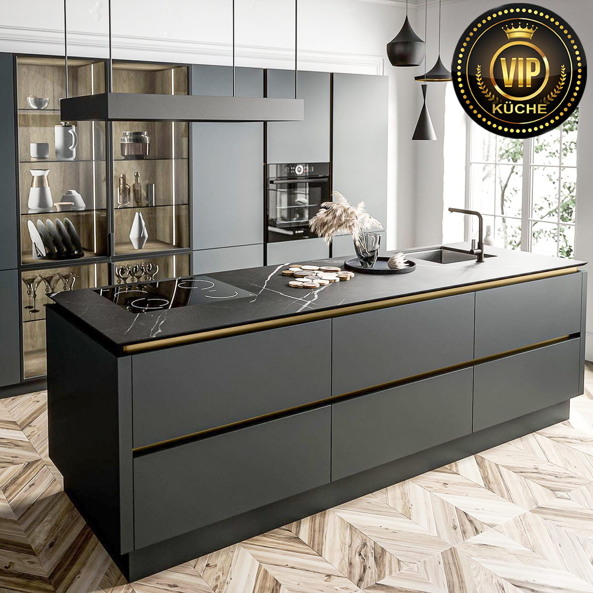 moderne küche mit insel schwarze küche